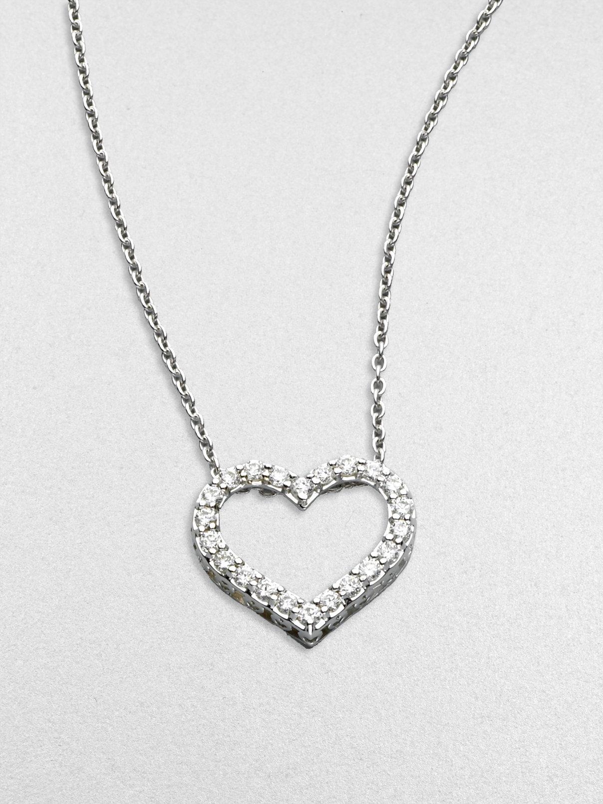 Roberto coin Tiny Treasures Diamond & 18k White Gold Open Heart