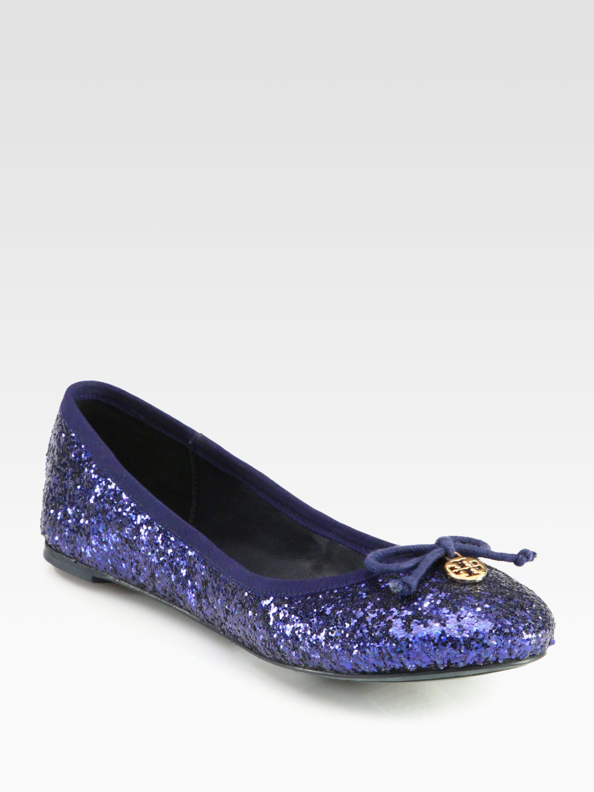 45eee82ec089 Tory Burch Chelsea Glitter Ballet Flats in Blue - Lyst