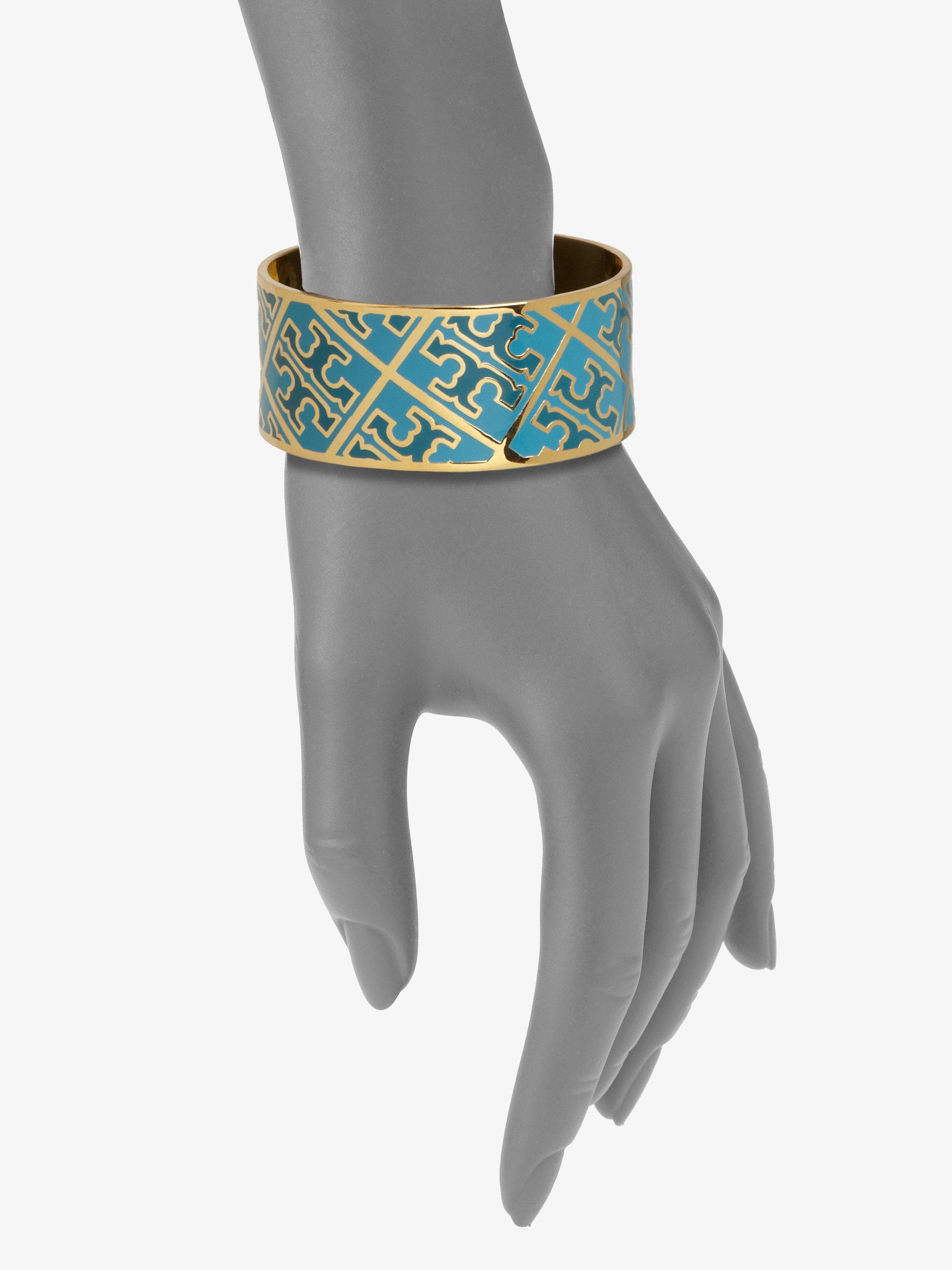 Tory Burch Enamel Logo Pattern Cuff Bracelet In Metallic
