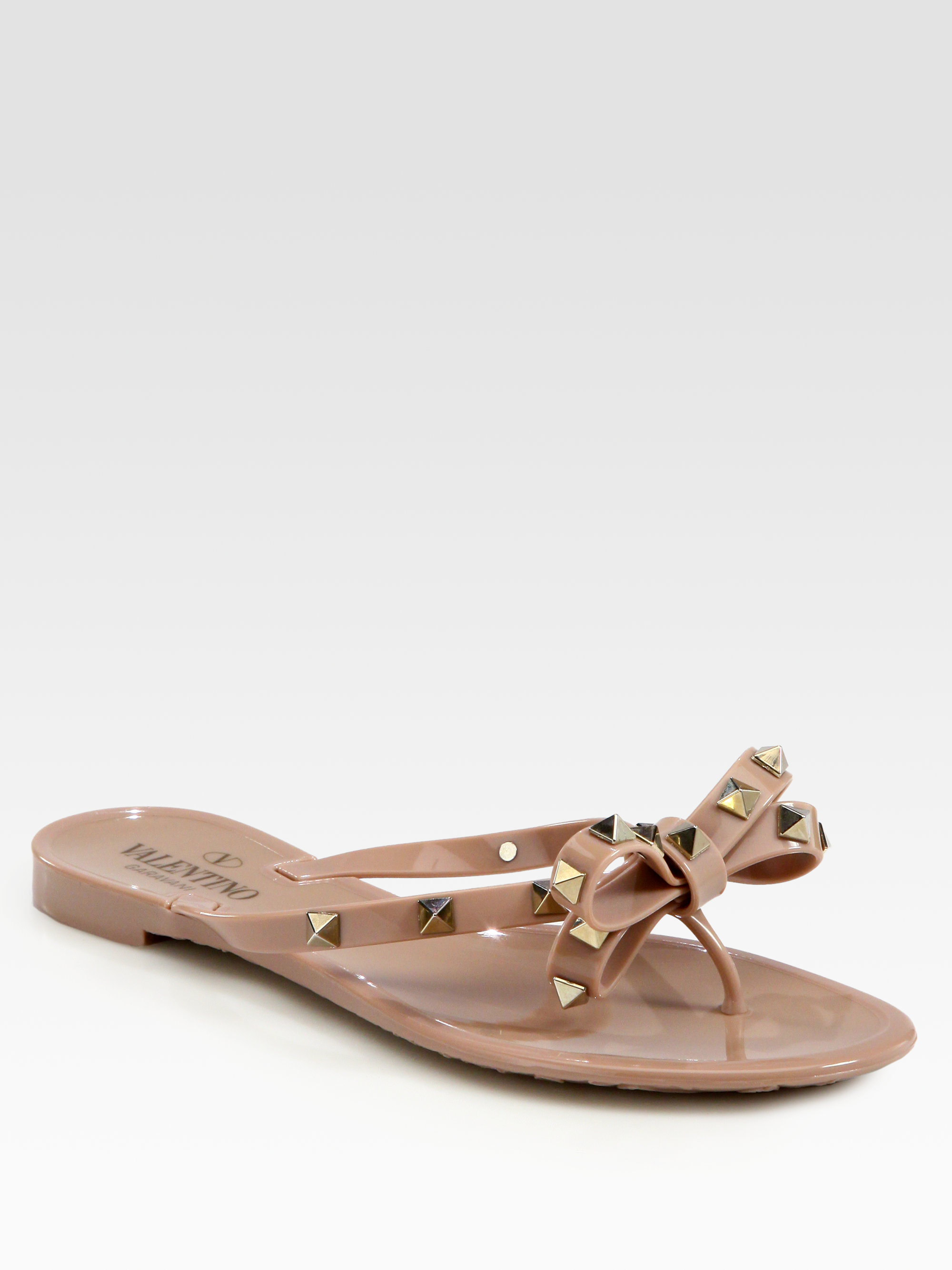 Valentino Rockstud Flops Thong Bow In Lyst Studded Black Flip Jelly 8nOw0vmN