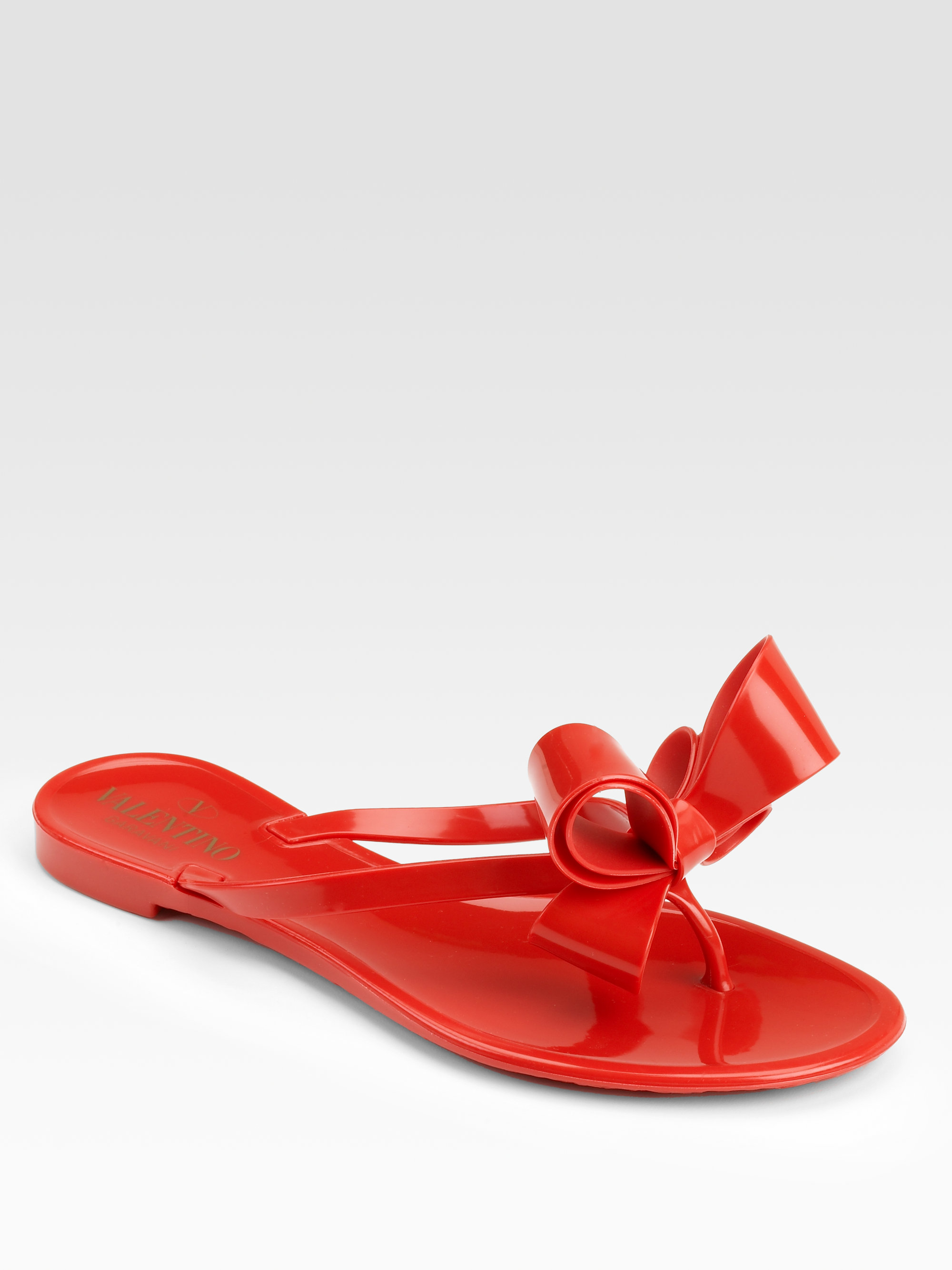 3b7b03930ff96 Lyst - Valentino Couture Bow Jelly Thong Sandals in Red