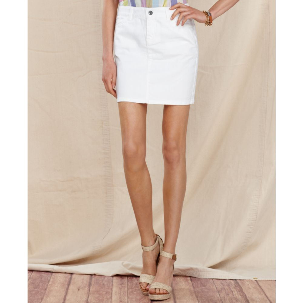 White Jean Mini Skirt 19