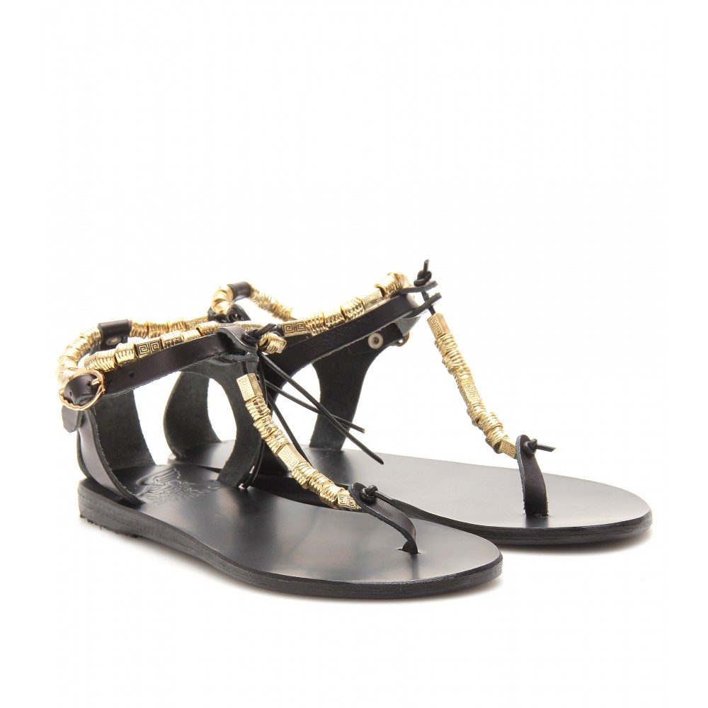 Ancient greek sandals Chrysso Leather Sandals in Black