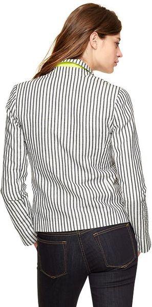 Gap Striped Washed Linen Blazer In Blue Navy Amp White