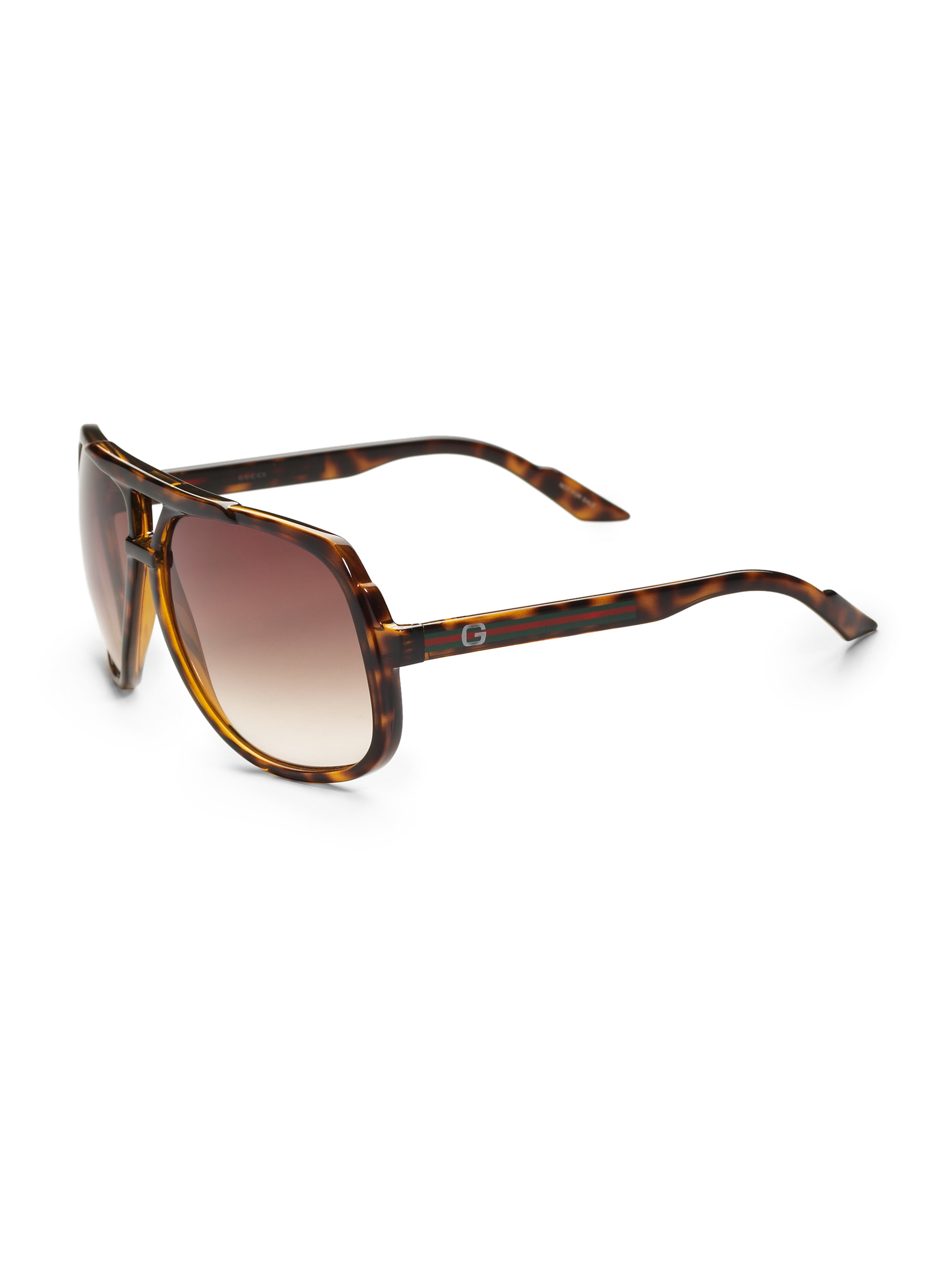 Lyst Gucci Plastic Aviator Sunglasses In Brown For Men