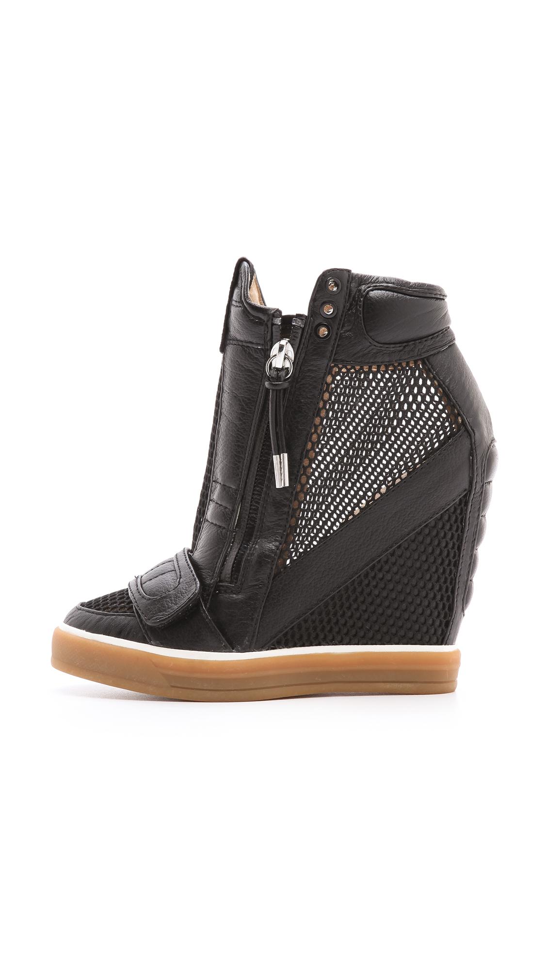 Lyst L A M B Pamela Mesh Wedge Sneakers In Black