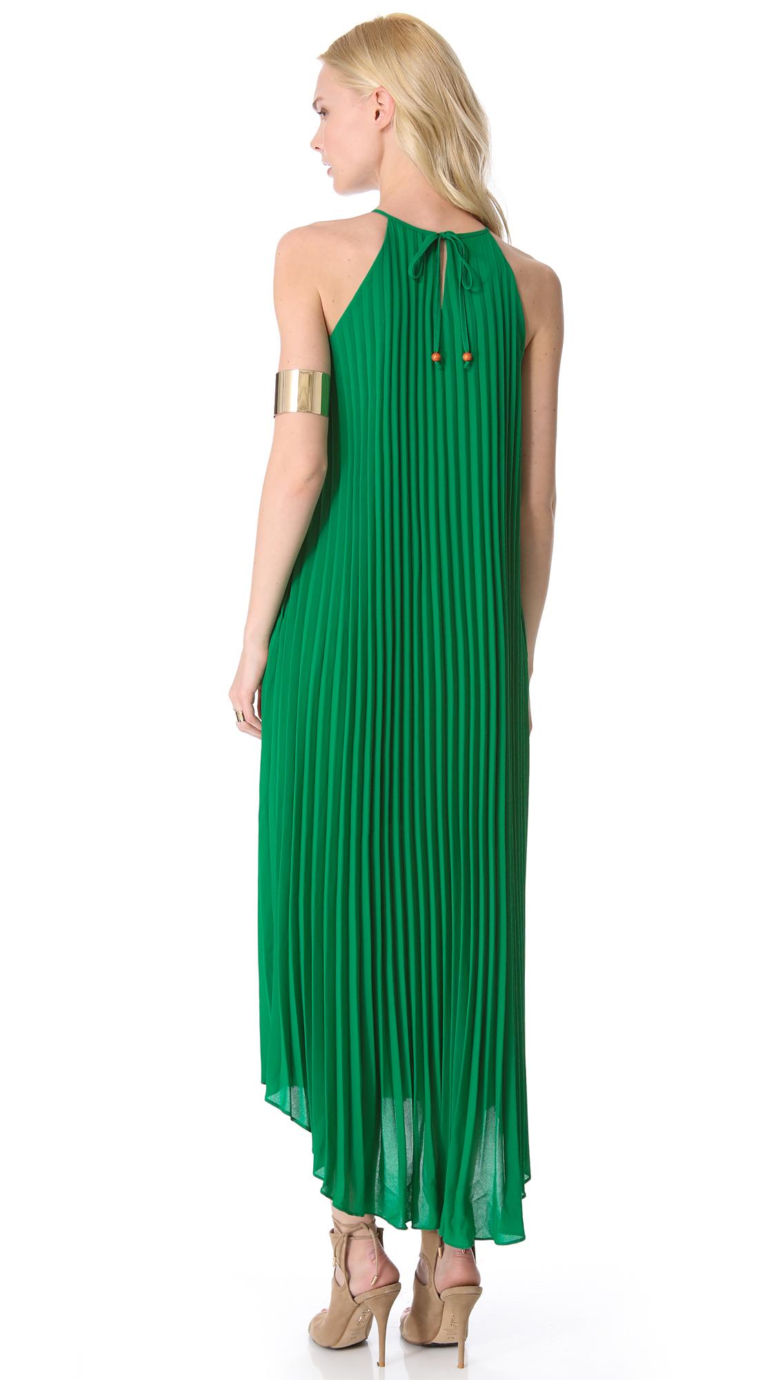 c35569adeef Line   Dot Pleated Maxi Dress in Green - Lyst
