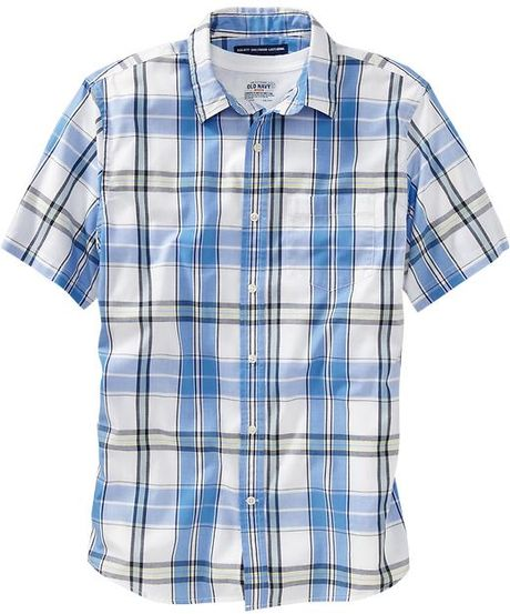 Old navy plaid regularfit shirts in blue for men blue for Navy blue plaid shirt