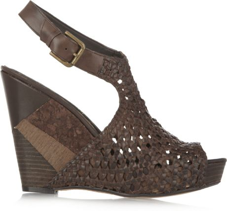 Sam Edelman Kasi Woven Leather Wedge Sandals In Brown