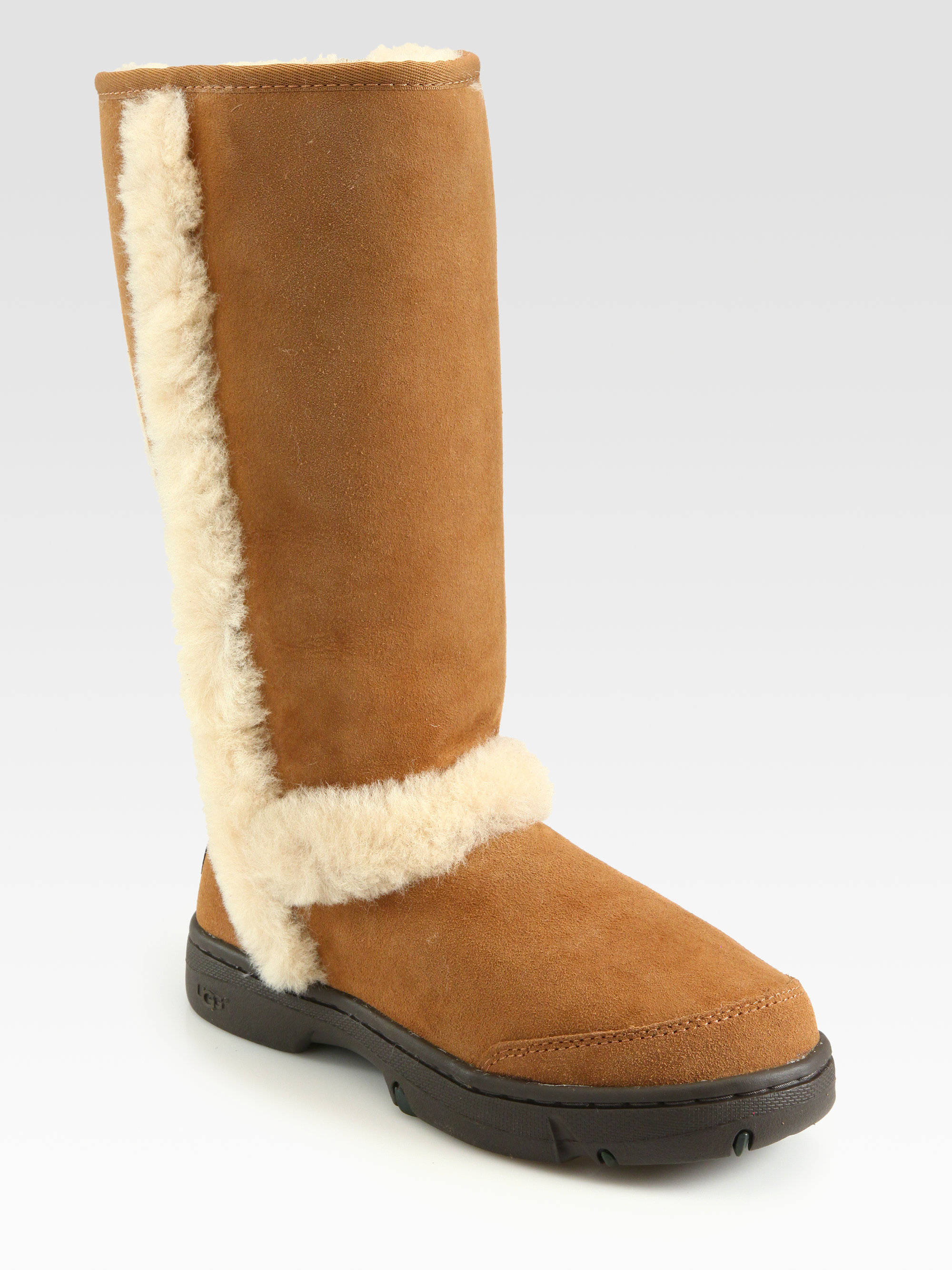 Lyst Ugg Shearling Trim Suede Tall Boots In Brown