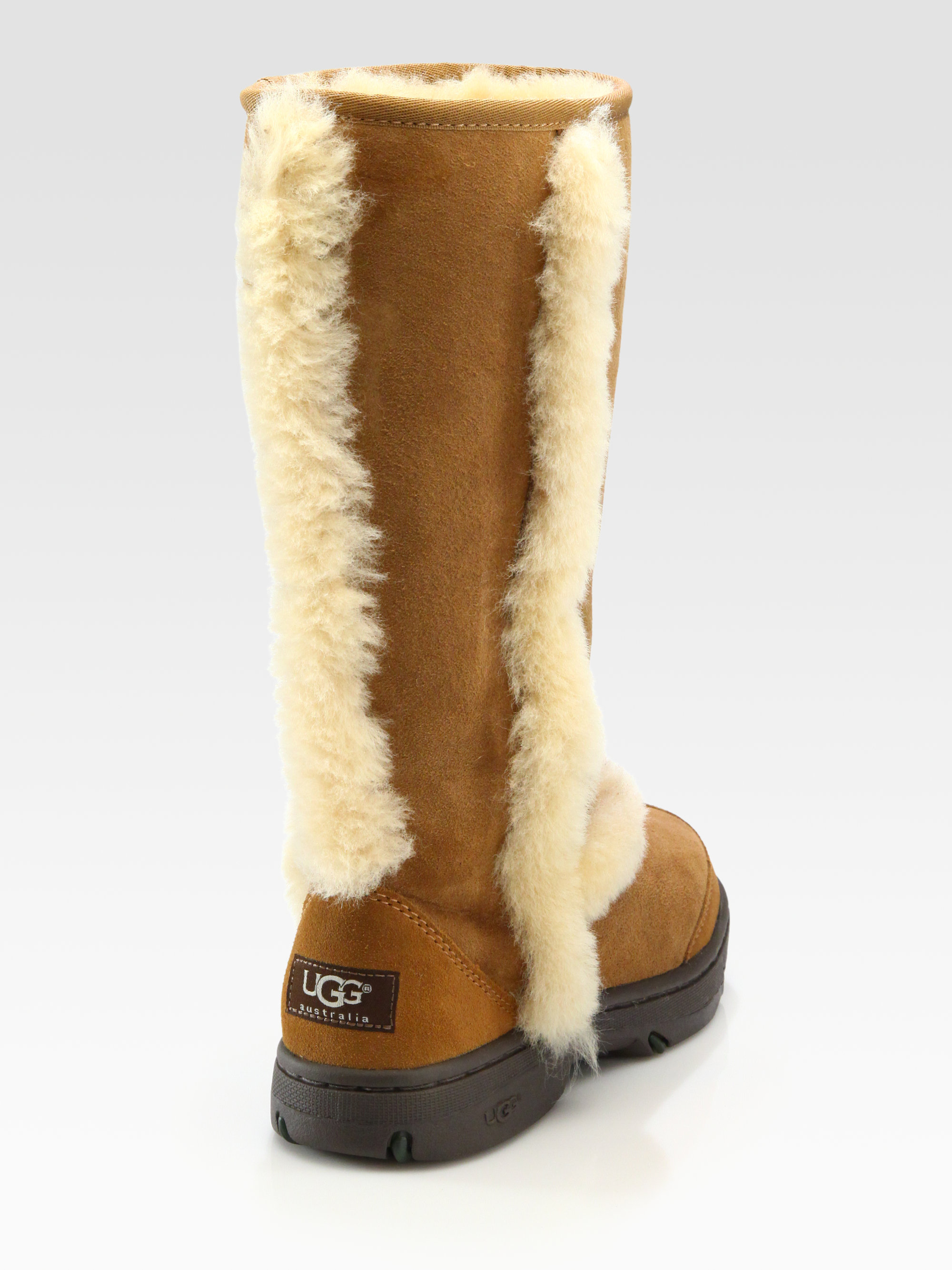UGG Shearling Trim Suede Tall Boots in
