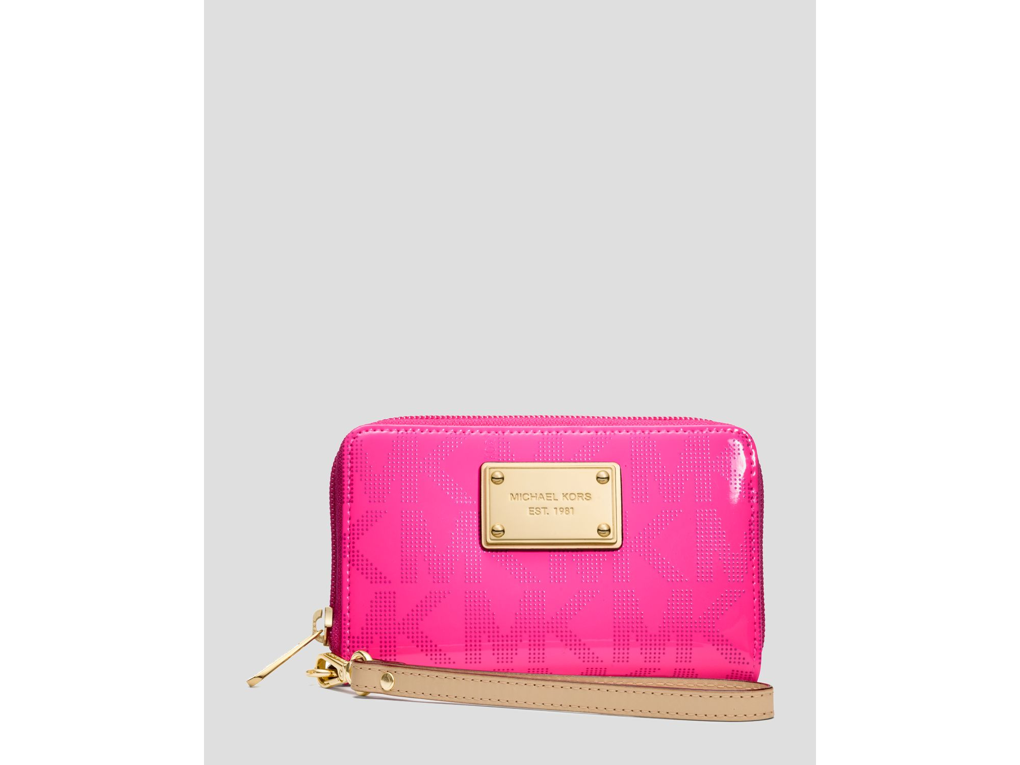 michael michael kors iphone 5 wristlet logo in pink neon pink lyst. Black Bedroom Furniture Sets. Home Design Ideas