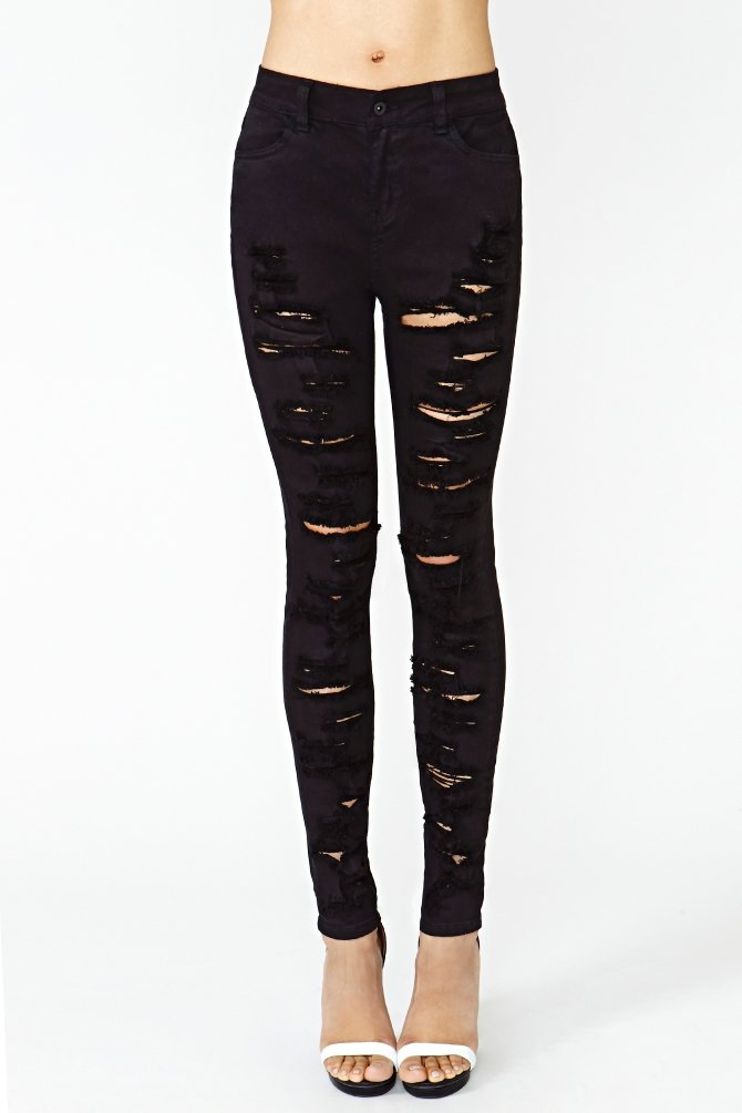 Nasty gal Shredded Skinny Jeans Black in Black | Lyst