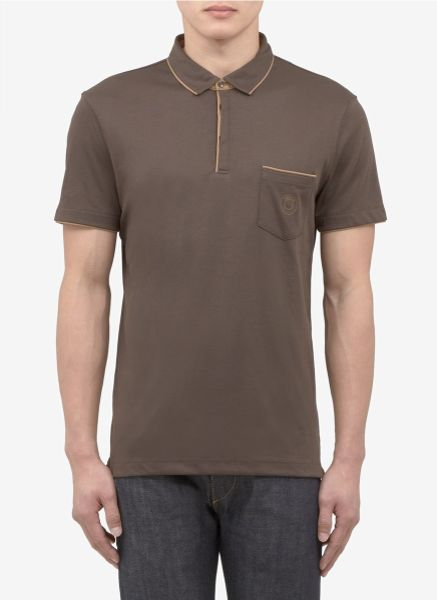 Armani contrasttrim chest pocket polo shirt in brown for for Men s polo shirts with chest pocket