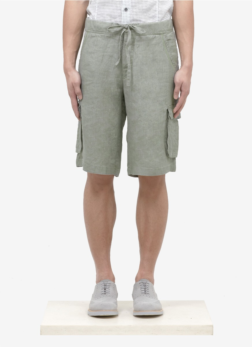 Armani Linen Cargo Shorts In Green For Men Olive Lyst