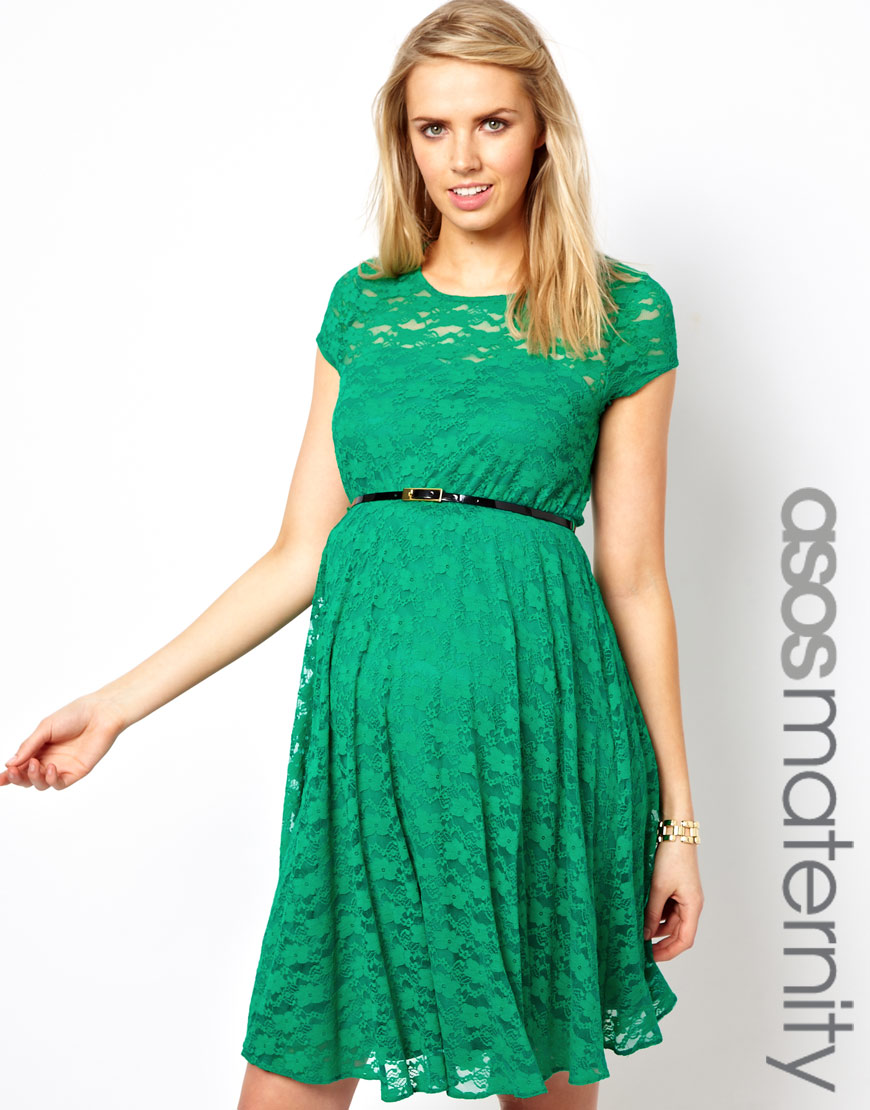 Lyst Asos Maternity Lace Skater Dress With Belt In Green