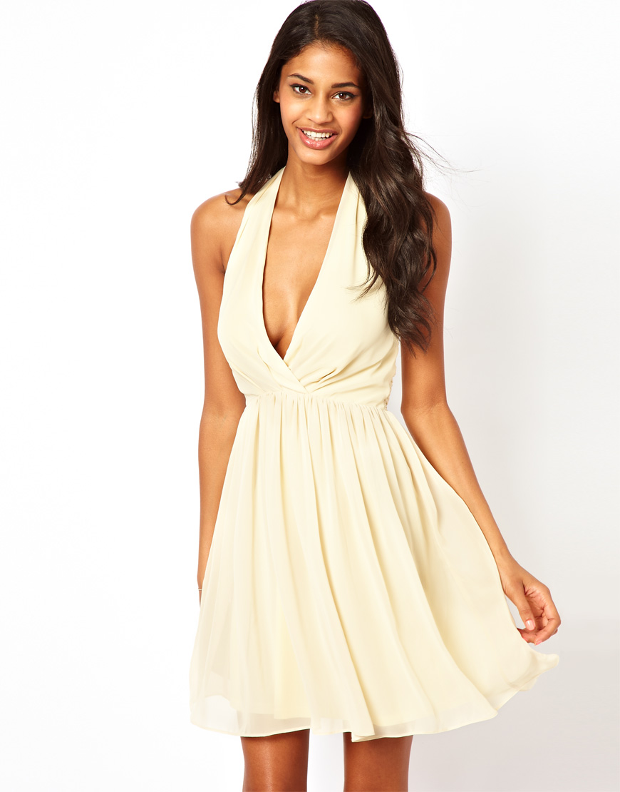 Asos Skater Dress with Sexy Halter Neck in Natural | Lyst