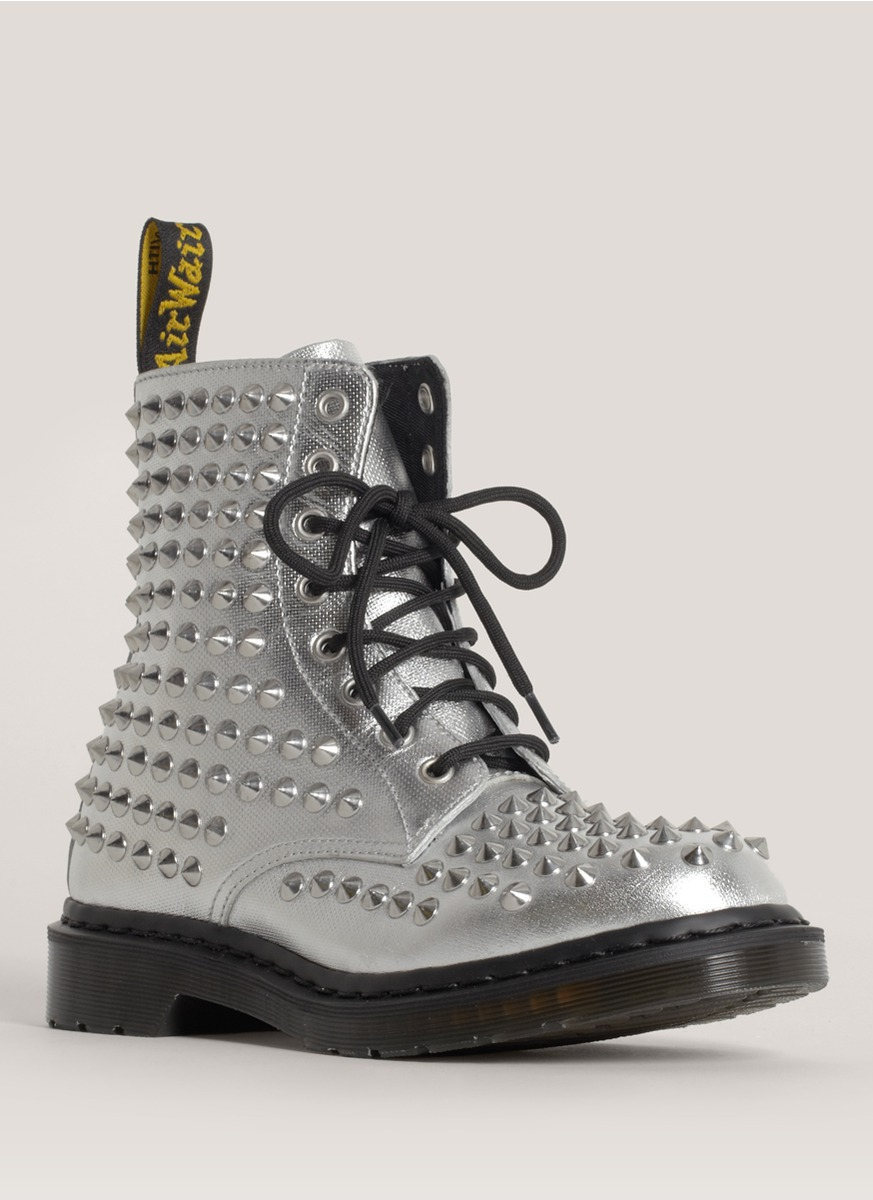 "Lyst - Dr. martens ""spike"" Studded Metallic Boots in Metallic"