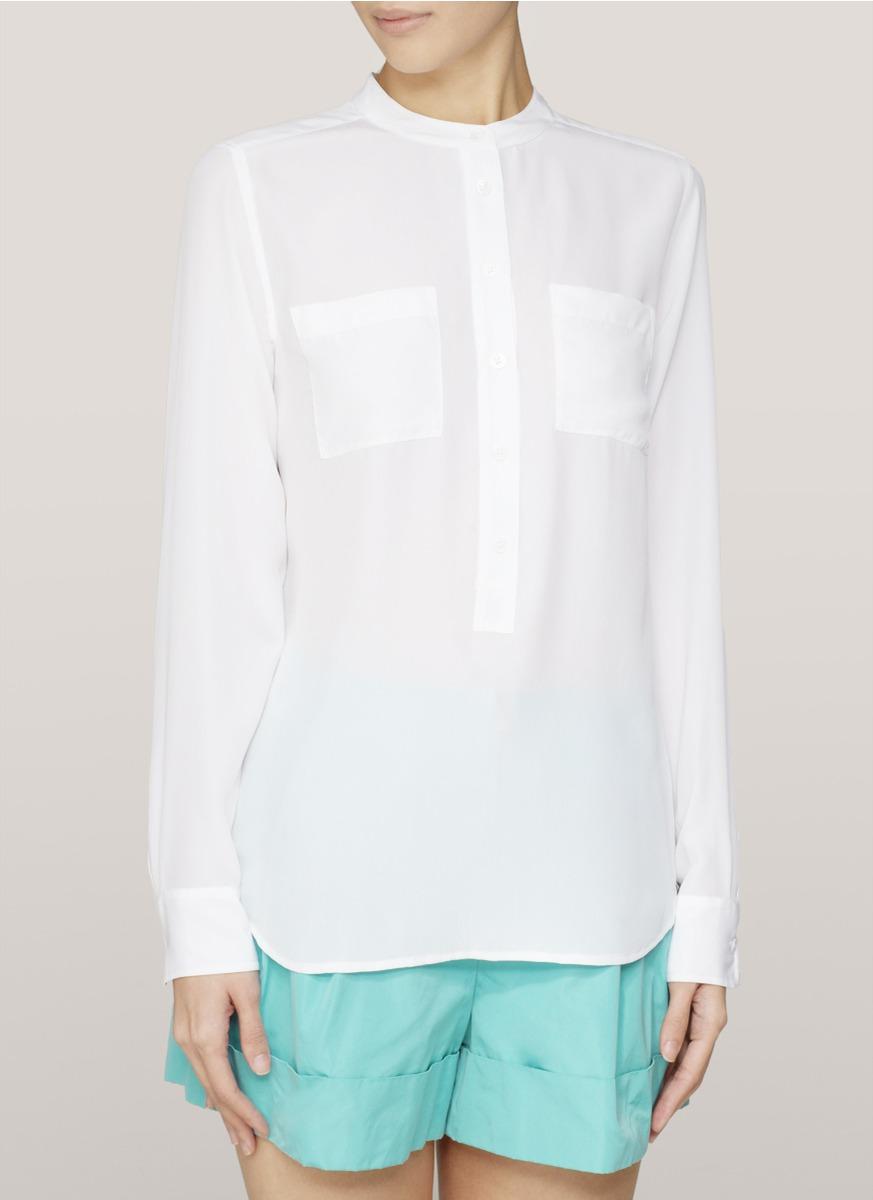 845e375276d919 Lyst - Equipment Collarless Silk Blouse in White