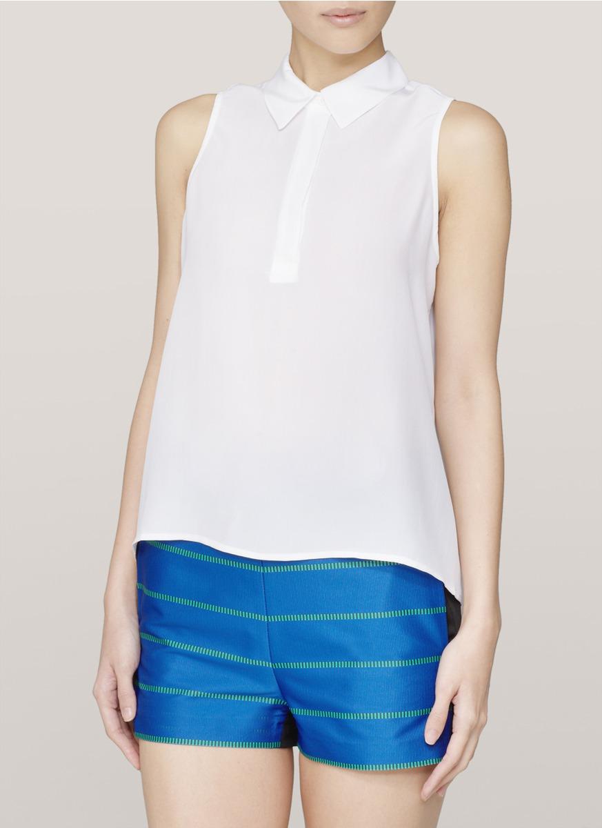 Lyst Equipment Sleeveless Collared Shirt In White