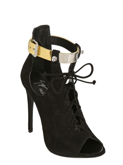 Giuseppe Zanotti Anja Rubik Suede Open Toe Boots in Black