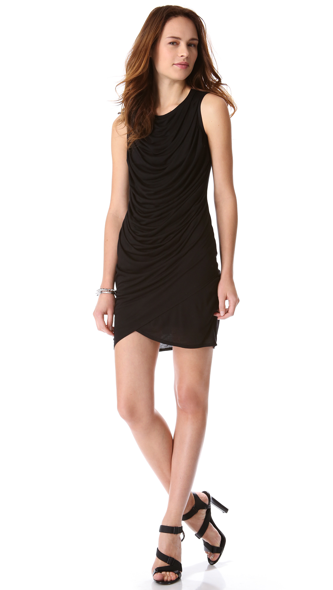 Lyst - Helmut Kinetic Jersey Draped Dress in Black