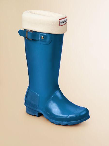 Hunter Kids High Gloss Original Tall Rain Boots In Blue