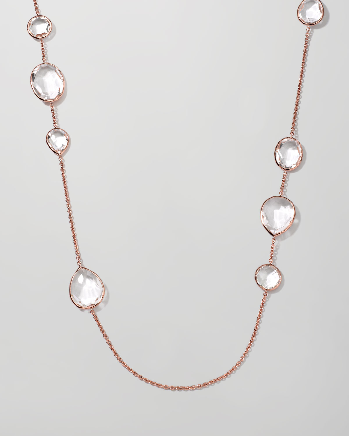 Ippolita Rose Rock Candy Clear Quartz Paparazzi Chain Necklace In Rose Gold Pink Lyst