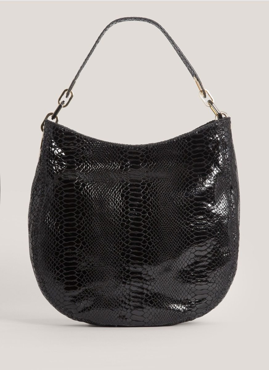 michael kors fulton medium fauxsnake hobo bag in black snake lyst. Black Bedroom Furniture Sets. Home Design Ideas