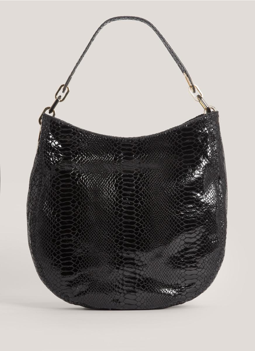 michael kors fulton medium fauxsnake hobo bag in black lyst. Black Bedroom Furniture Sets. Home Design Ideas