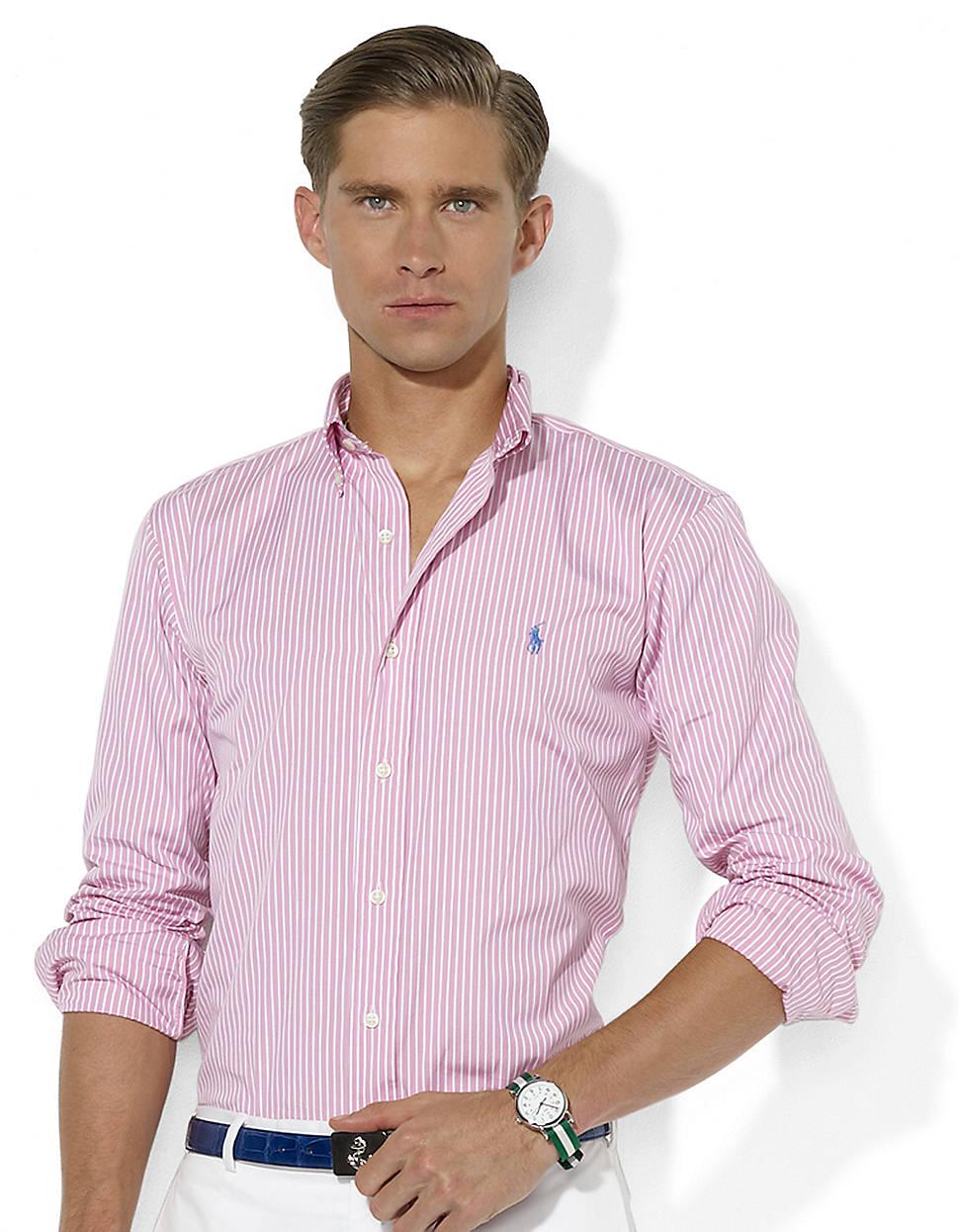 5cf3e8d29c ... button down in 5963d d645c; coupon for lyst polo ralph lauren customfit  striped cotton poplin shirt in 9d6ad 7e9a0