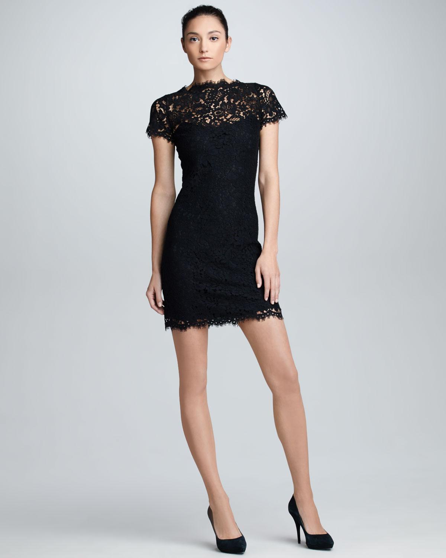 ... lauren black label Shortsleeve Scalloped Lace Dress in Black | Lyst
