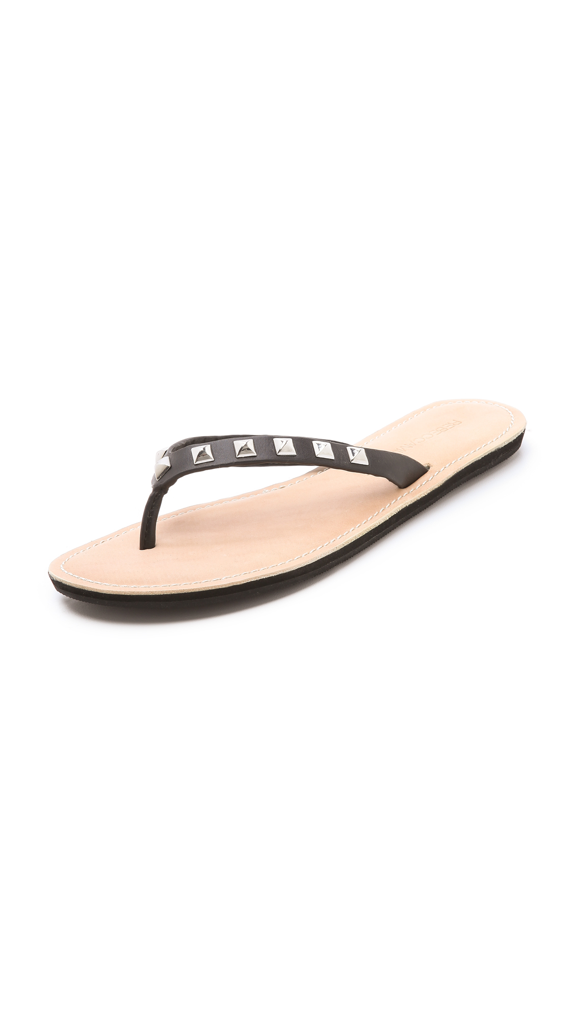 Rebecca Minkoff Fiona Studded Flip Flops In Black  Lyst-8478
