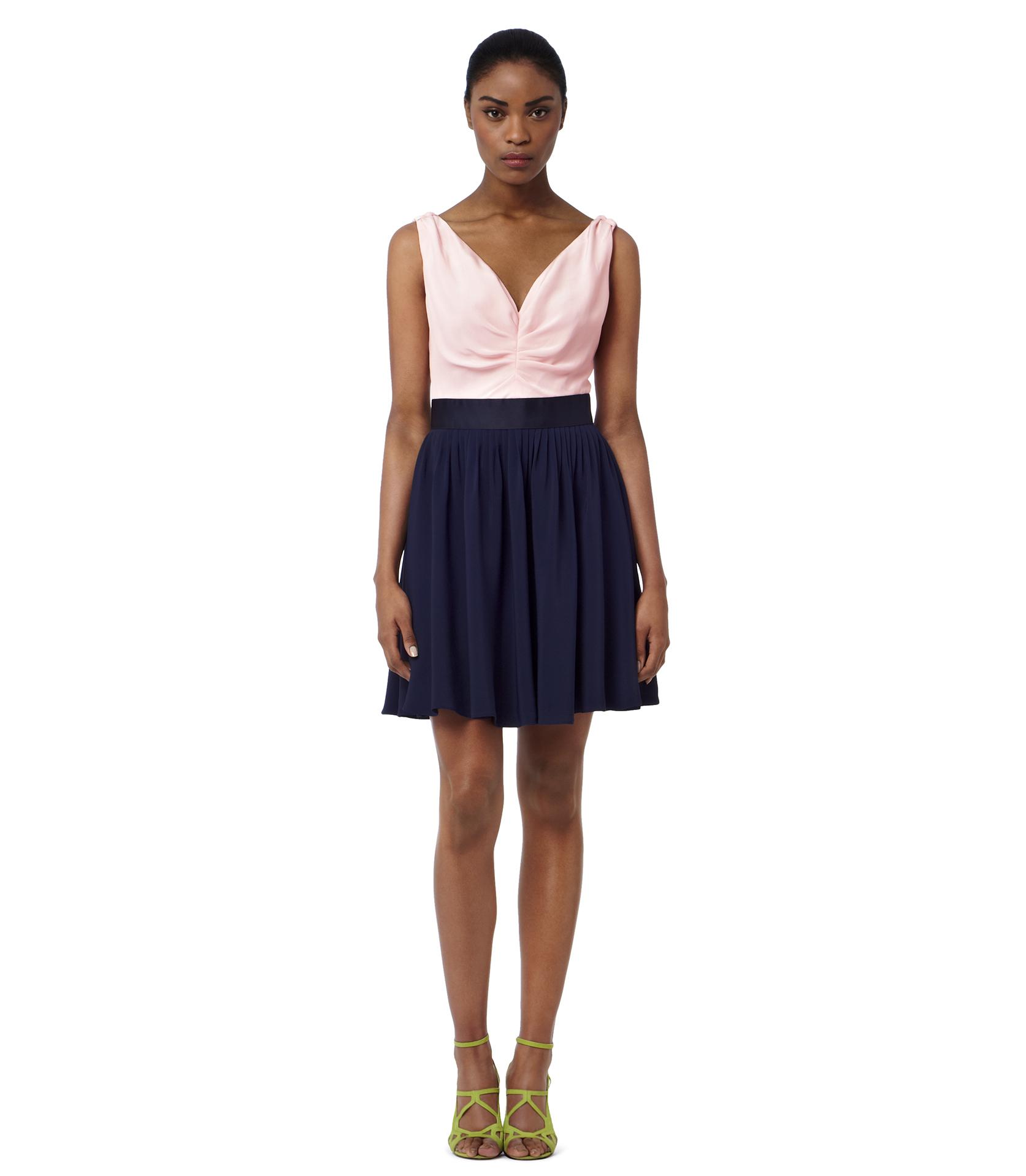 Reiss Priya Colour Block Dress In Navy Pink Lyst