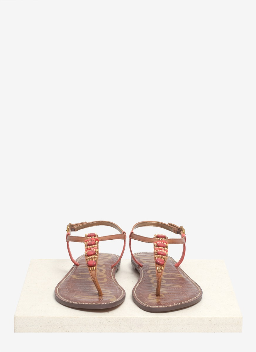 Sam Edelman Gale Beaded Leather Sandals In Red Lyst