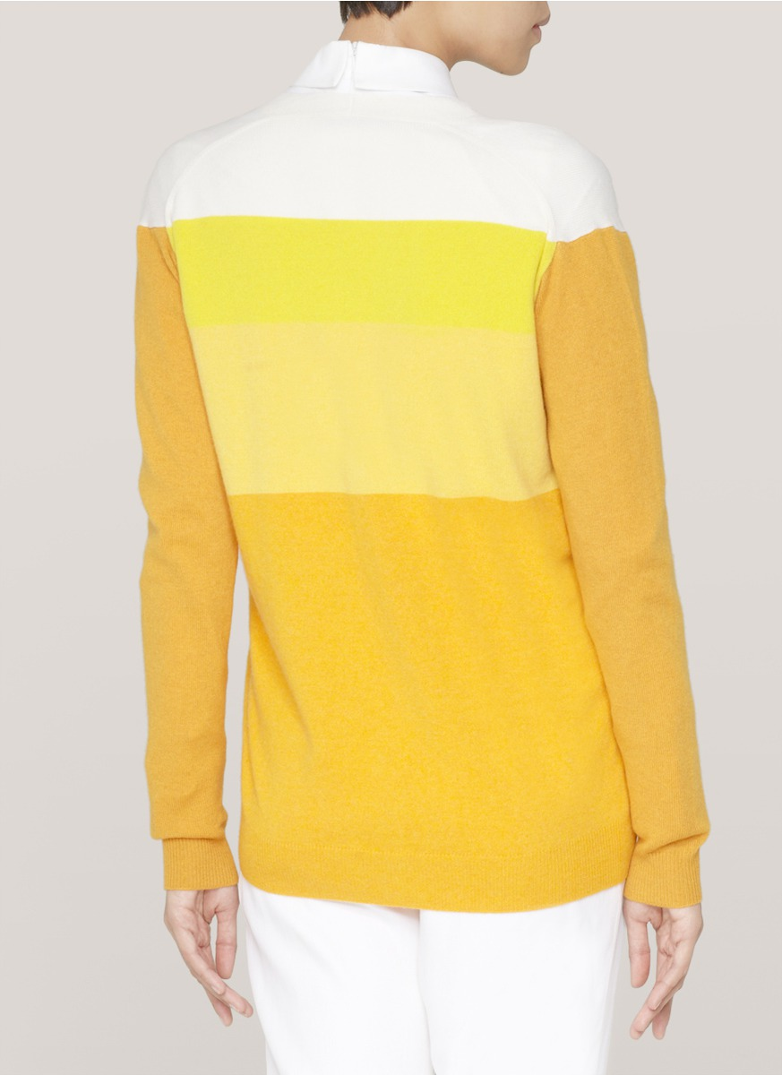 Stella mccartney Colour-block Cashmere-knitted Cardigan in Yellow ...