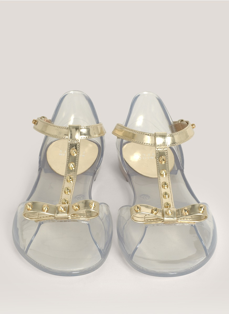 Lyst Stuart Weitzman Studded Strap Jelly Sandals In Metallic