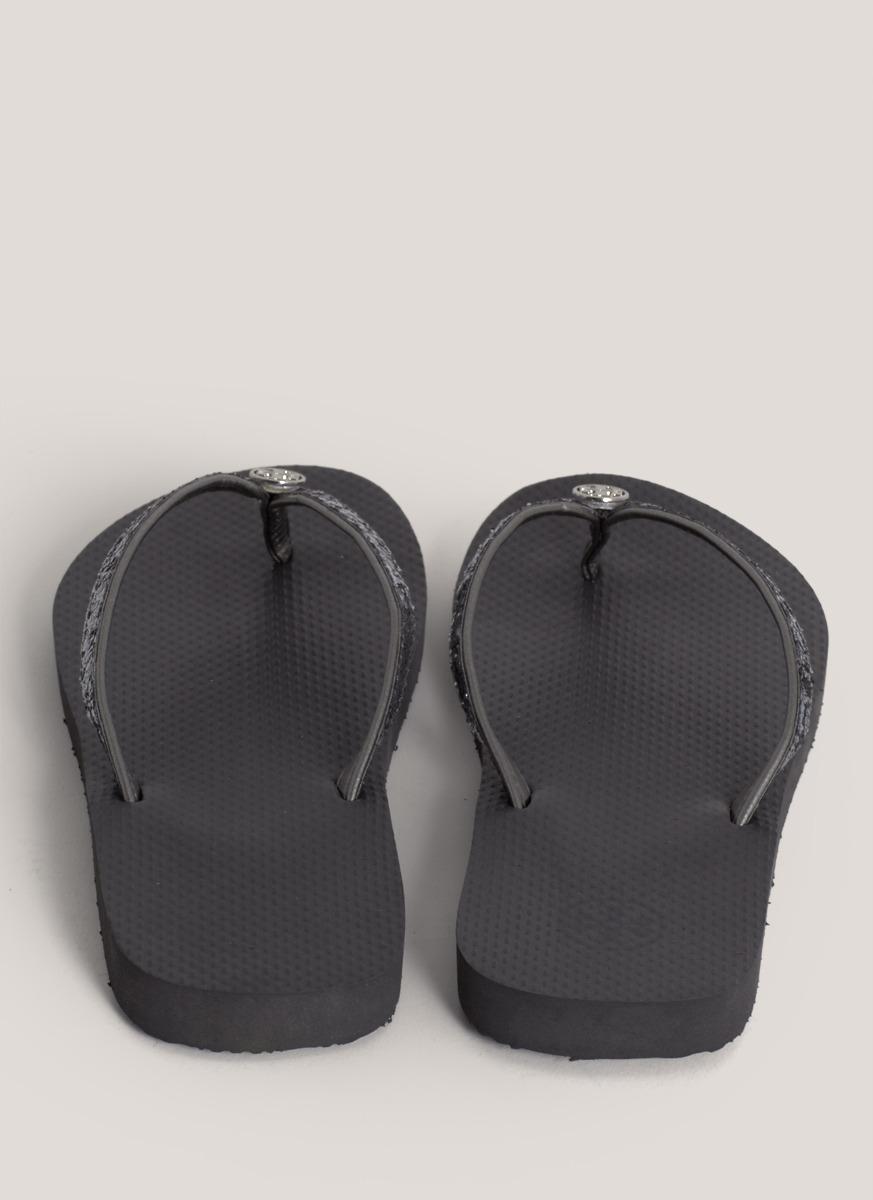 Tory Burch Adia Glitter Flip-Flops In Black,Metallic -3216