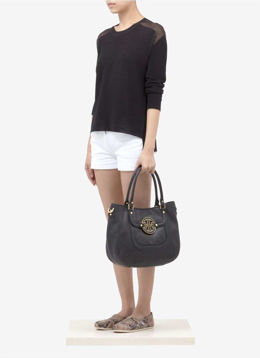 Lyst Tory Burch Amanda Leather Hobo Bag In Black