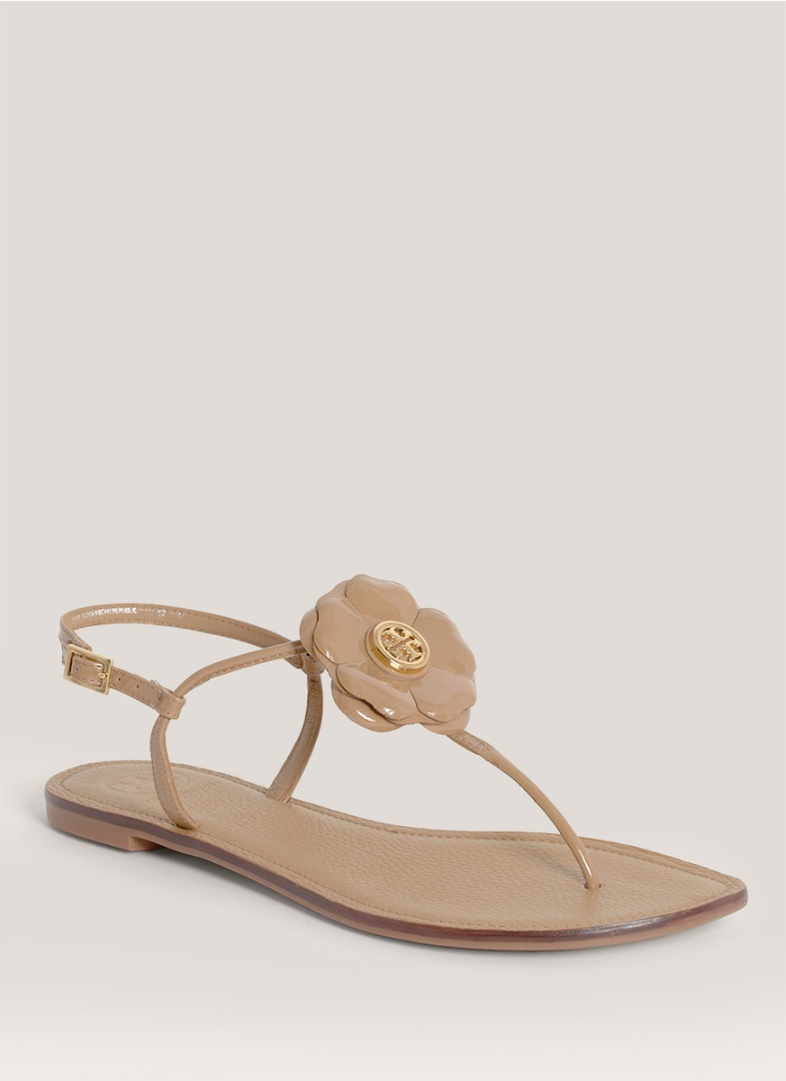 6a3216dfd08f Lyst - Tory Burch Shelby Floral Flat Sandals in Brown