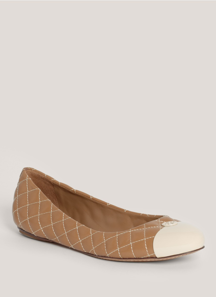 tory burch kaitlin toecap leather ballerina flats in brown tan lyst. Black Bedroom Furniture Sets. Home Design Ideas