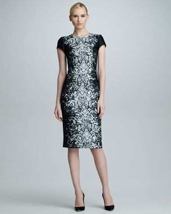 Carolina Herrera Abstract Lace Jacquard Dress - Lyst