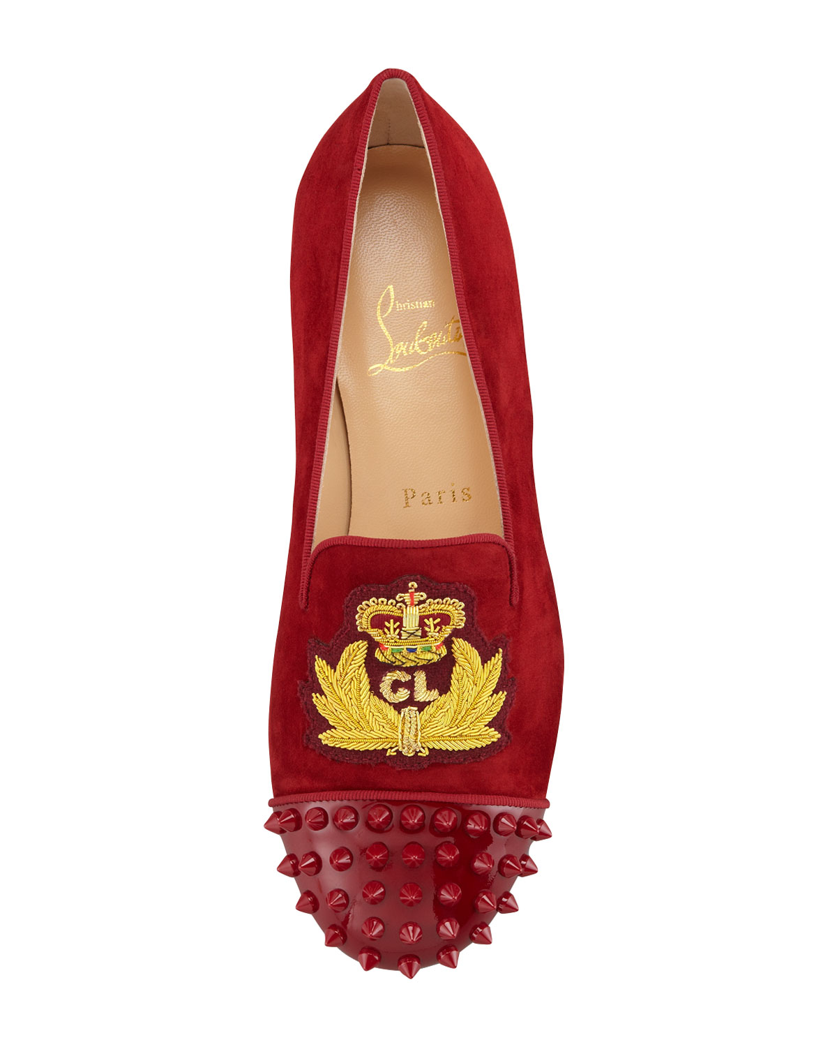 Christian louboutin Intern Spiked Velvet Red Sole Loafer Red in ...