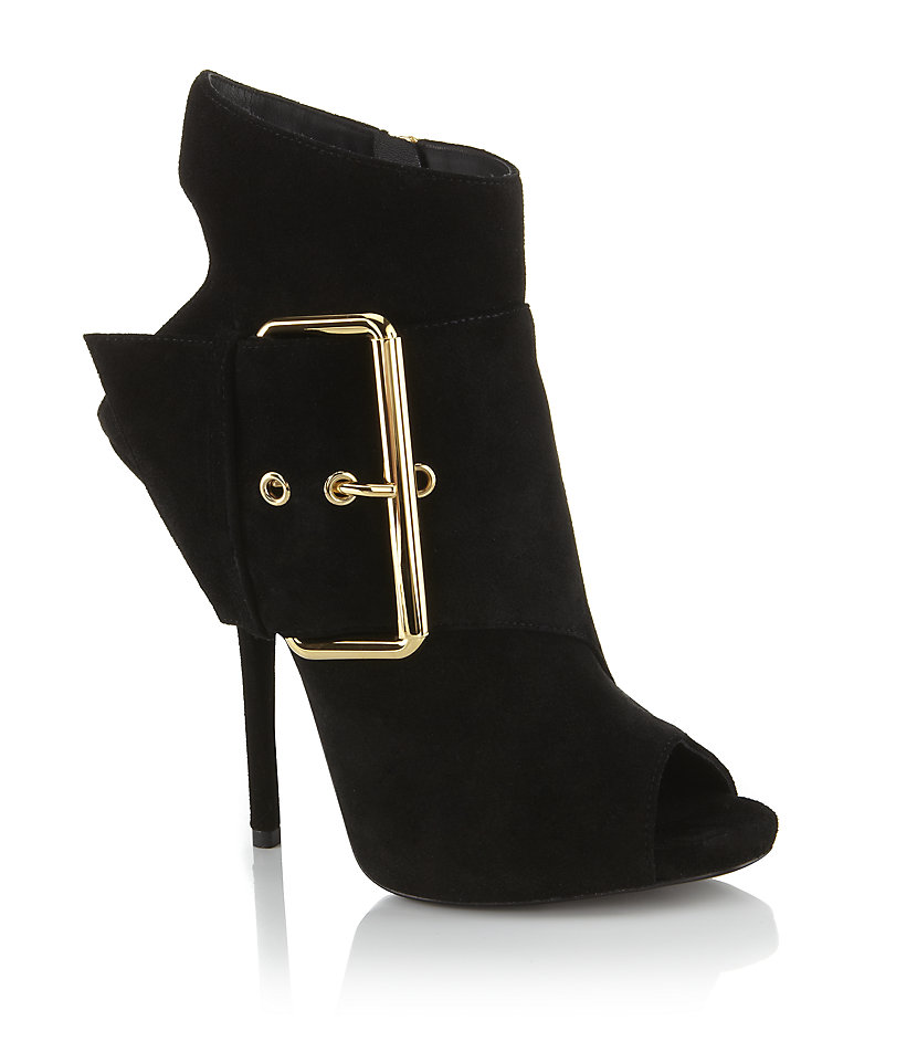 Available In Black And Taupe Peep Toe Bootie Buckle Detail 4 Inch Heel.