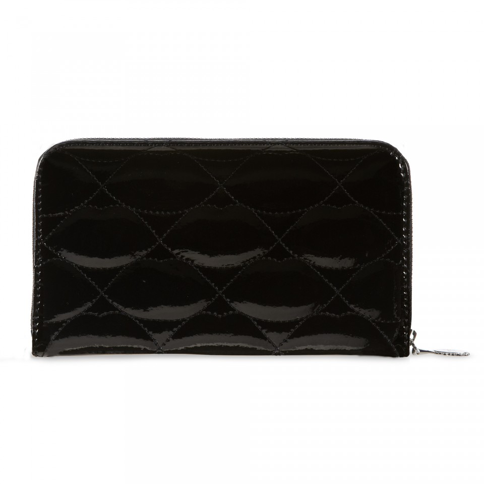 Lulu Guinness Black Quilted Lips Continental Patent