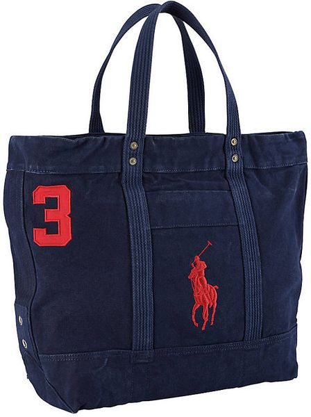 Polo Ralph Lauren Big Pony Cotton Canvas Tote Bag In Blue