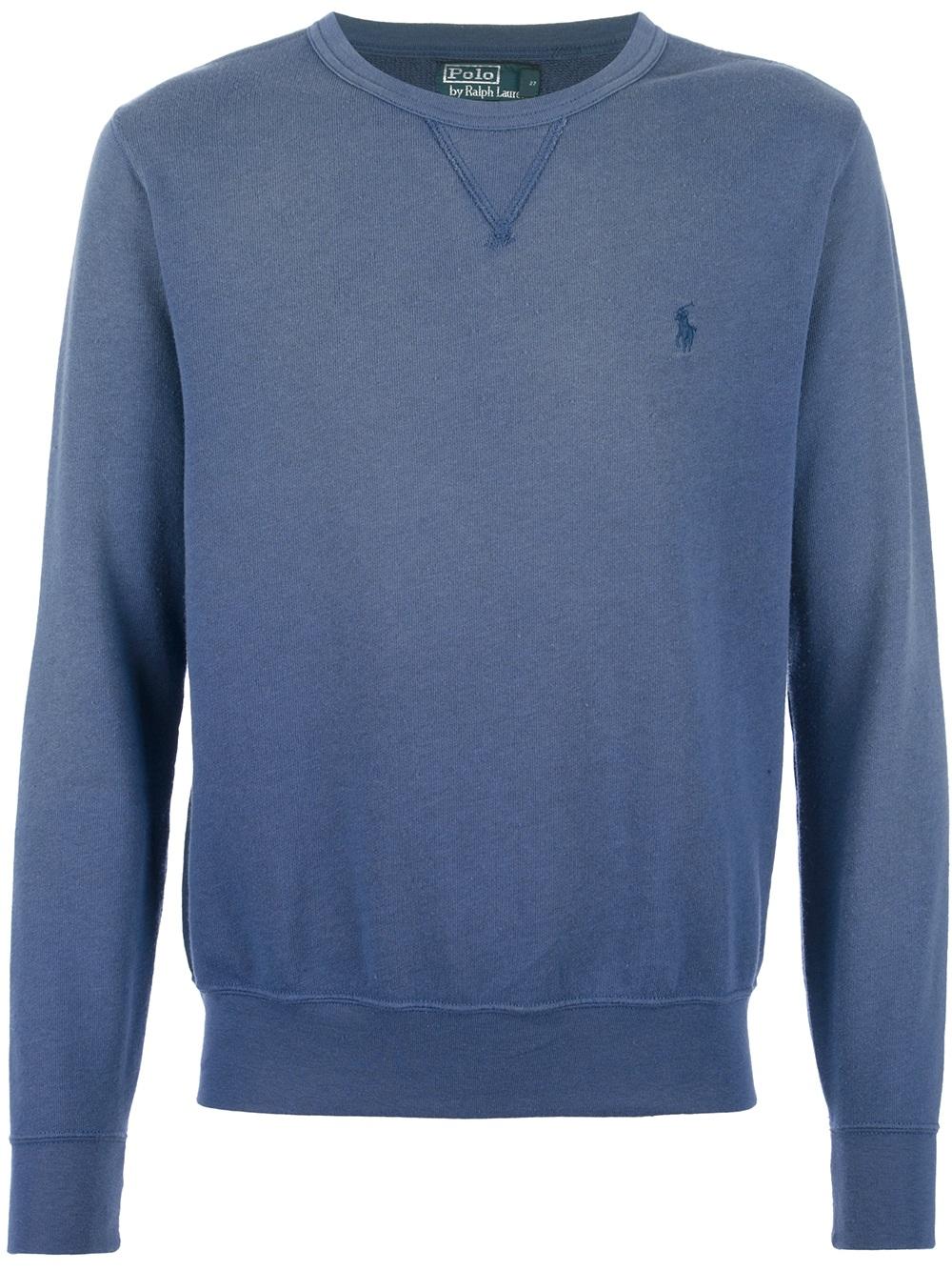 polo ralph lauren washed effect sweatshirt in blue for men. Black Bedroom Furniture Sets. Home Design Ideas