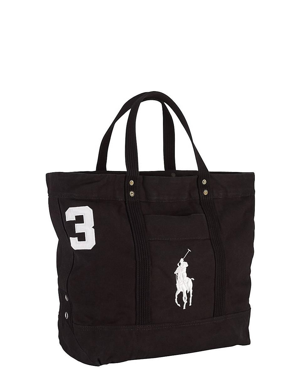 Ralph Lauren Polo White Canvas Big Pony Handbags .