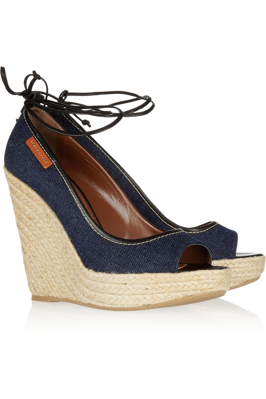 Sergio Rossi Denim Wedge Sandals In Navy Blue Lyst