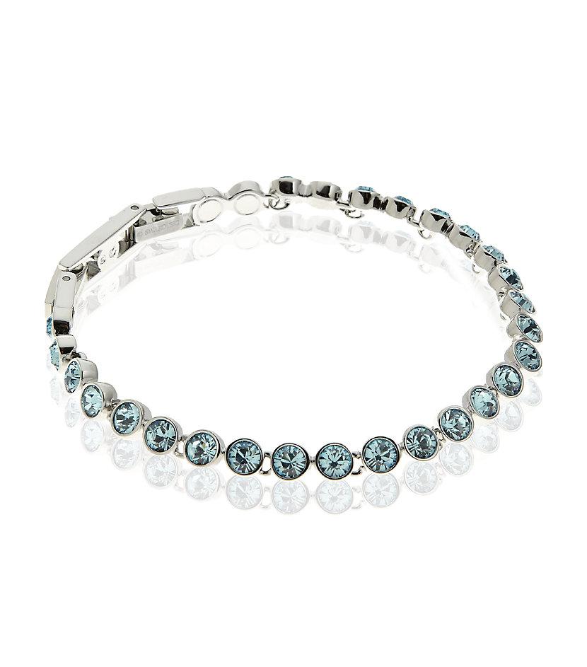 swarovski tennis bracelet in blue aquamarine lyst. Black Bedroom Furniture Sets. Home Design Ideas